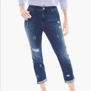 Chico's Brooch-embellished Girlfriend crop jeans